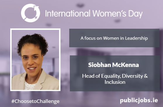 Image of woman, Siobhán McKenna, Head of Equality, Diversity and Inclusion, against purple background
